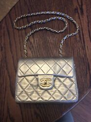 Authentic Vintage Rare CHANEL Quilted Chain Shoulder Bag Gold Leather
