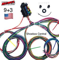 Rebel Wire 12 Volt Wiring Harness 9+3 Circuit Universal Kit Made In The Usa