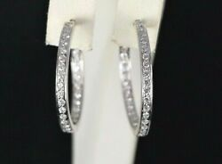4500 18k White Gold Inside Out 1.50ct Round Diamond Hoop Snap Closure Earrings