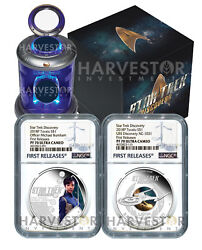 2018 Star Trek 2-coin Set - Discovery And Burnham - Ngc Pf70 First Releases