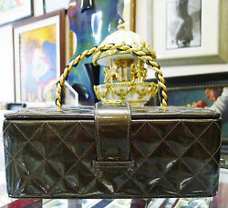 CHANEL Vintage Brown Quilted Patent Leather Cosmetic Makeup Bag