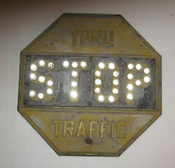 Rare Vintage Thru Traffic Yellow Stop Sign With Raised Lettering 18 X18