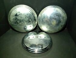 1940-50 Buick Moon Dog Dish Silver Hubcaps Set Of 3