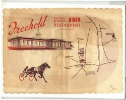 Rare Orig Freehold Nj Trotters And Pacers Diner Restaurant Placemat Map Ad Print