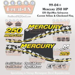 1999-04 Mercury 250hp Efi Yellow Checkered Flag 15pc Repro Decals Outboard 2004