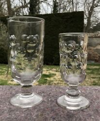 2 Glasses In Pellets Of Bar / Glass In Absinthe 19th Century