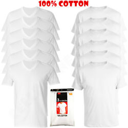 6-pack V/crew-neck For Menand039s 100 Cotton Tagless T-shirt Undershirt Tee White