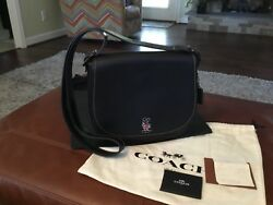 NWT RARE Disney X Coach MICKEY Saddle Bag In Govetanned Leather 37931 BLACK LRG