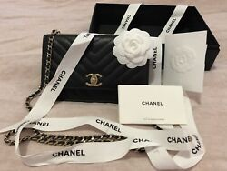 Chanel WOC (wallet On A Chain) Black CC Trendy Flap Bag wGold-tone HW