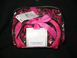 Adrienne Vittadini Cosmetic Bag Set of 3 Dome Shape with bow NWT - FREE SHIP