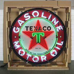 Texaco Motor Oil 36 Inch Neon Light Sign In Metal Can 36 By 36 By 6
