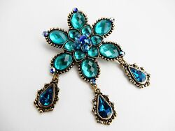 Vintage Estate High End Rhinestone Open Foiled Back Flower Pin Brooch
