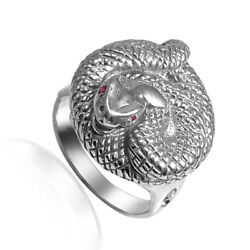 Menand039s Ruby Eyed Platinum 950 Serpent Ring R1982