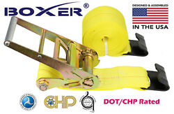 6 Boxer 4 X 30and039 Ratchet Strap W/ Flat Hooks Flatbed Truck Tie Down 5400lb Dot