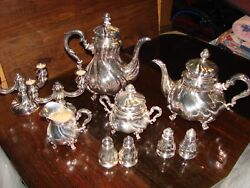 Beautiful-10 Piece Sterling Serving Set Coffee-tea-creamer-sugar-salt/pepper+++