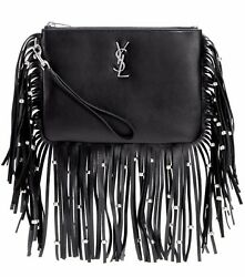 YSL Yves Saint Laurent Monogram Black Leather Fringe Beaded Pouch Bag Clutch