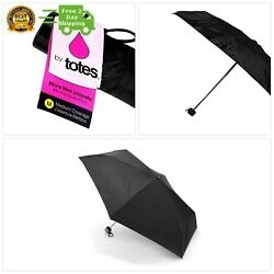 Totes 6.7-Ounce Micro Mini Umbrella with 33-inch Coverage Black 1-pack