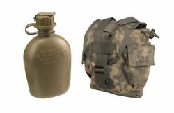Us Military 1 Qt Quart New Canteen + Molle Acu Used Cover General Purpose Pouch