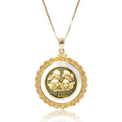 24k Gold Angel Coin Set In 14k Yellow Gold Rope Coin Holder On Mabandeacute Pearl