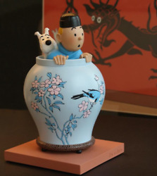 Extremely Rare Tintin With Snowy In Flowerpot Limited Edition Figurine Statue
