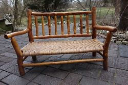Old Hickory Lodge Furniture Child's Bench W/ Cane Seat In Prison Made We Ship