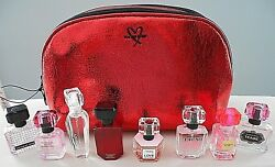 8 NEW VICTORIA'S SECRET TRAVEL SIZE EAU DE PARFUM & METALLIC CRACKLE MAKE UP BAG