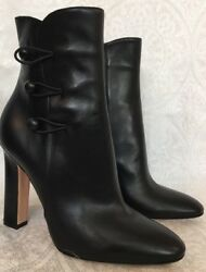 Gianvito Rossi Boots Black Leather Side Loop Buttons Size 40 New