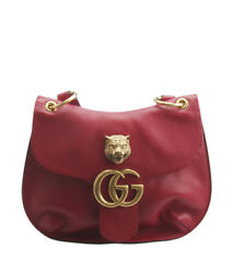 Gucci 409154 Marmont Red Leather Crossbody Bag