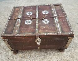 Old Early Scarce Primitive Hand Carved Money / Treasure Chest-wooden Box