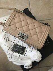 100% AUTHENTIC PREOWNED CHANEL OLD MEDIUM BOY BAG BEIGE NUDE LARGE QUILTS RHW