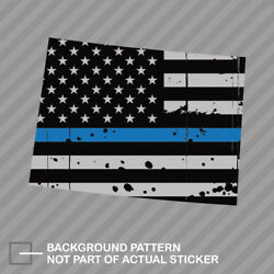 Distressed Colorado State Shaped Subdued Us Flag Thin Blue Line Sticker Police