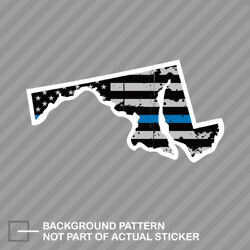 Distressed Thin Blue Line Maryland State Shaped Subdued Us Flag Sticker Police