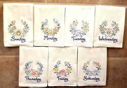 Floral Laurel Days Of The Week Machine Embroidered Flour Sack Dish Towels