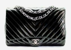 AUTHENTICATED!! CHANEL JUMBO Black Patent Leather
