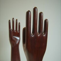 Vntg Mannequin Pair Industrial Wood Hands Store Shop Counter Display Glove Form