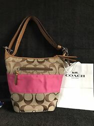 Coach Signature Pink Stripe Duffle Bucket Bag!!  Great Bag!