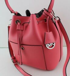 NEW AUTHENTIC MICHAEL KORS GREENWICH CORAL LEATHER HANDBAG MD BUCKET BAG WOMEN'S