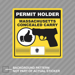 Massachusetts Concealed Carry Permit Holder Sticker Decal Vinyl 2a Permited
