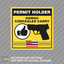 Hawaii Concealed Carry Permit Holder Sticker Decal Vinyl 2a Permited