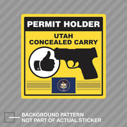 Utah Concealed Carry Permit Holder Sticker Decal Vinyl 2a Permited