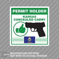 Kansas Concealed Carry Permit Holder Sticker Decal Vinyl 2a Permited V2