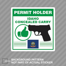 Idaho Concealed Carry Permit Holder Sticker Decal Vinyl 2a Permited V2