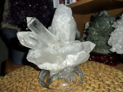 Crystal Cluster Huge On A Flower Glass Base And Beautiful Triple Aaa+ Grade
