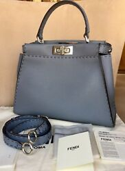 Auth Fendi SELLERIA Peekaboo bag Bag in Cerulean BLUE Leather and Silver hw Excl