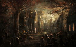 Pumpkin Blame Halloween Party Art Wall Decor Oil Painting Printed On Canvas Xi