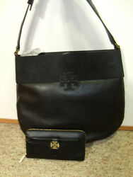 NWT Tory Burch Black Leather Stacked T Hobo Satchel Bag  Plaque Wallet Set NEW