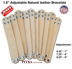 Natural Leather Bracelets 1.5 In With Adj. - Wholesale - Engraving - Craft - Usa
