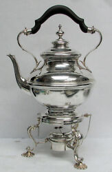 Classic 1930and039s Sterling Silver Shreve Crump Low Water Kettle On Stand And Burner