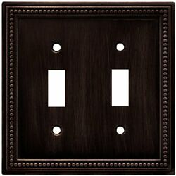 64409 Beaded Double Toggle Switch Wall Plate  Cover Venetian Bronze