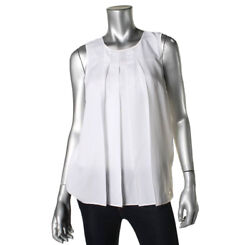Michael Kors Womens White Pleated Front Sleeveless Blouse Top XL Xlarge 4057-3
